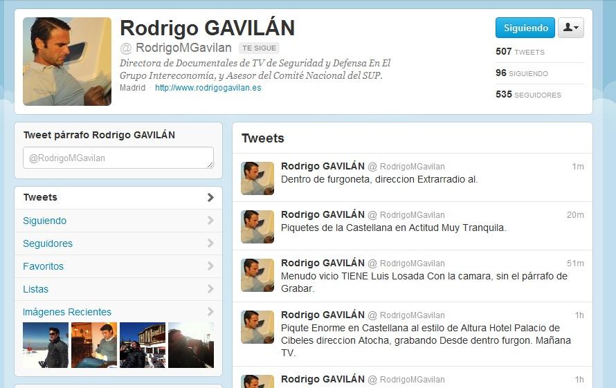 Rodrigo Gavilan en Twitter retrasmitiendo la huelga general