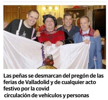 la coordinadora de Valladolid no quiere contagiar por eso en esta ferias ferias no participara ni en dicomovidad jolgorios desfiles eso si con mucho pesar